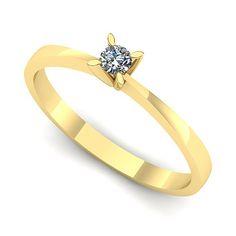 Inelul este realizat din:   * Piatra principala: diamant 1buc x ~2.20mm - greutate: ~0.04ct; * Culoare: G, Claritate: VS2, forma: round Aur, Engagement Rings, Jewelry, Fashion, Jewellery Making, Moda, Wedding Rings, Jewerly, Jewelery