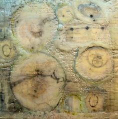 Encaustic and collage painting on birch panel