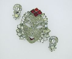 Mazer Reinad Asian Princess Face Brooch & Earring by MercyMadge, $425.00