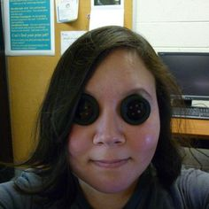Coraline Button Eyes (see through and prescription); could possibly do this with in tact glasses, without having to glue lenses to my face.
