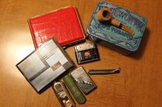 Nice lot of Vintage Tobacciana-lighters, tin, pipe & cleaner, cigarette cases