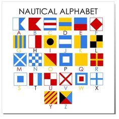 Nautical Alphabet Print by BushelandPeckPaper Nautical Flag Alphabet, Nautical Baby Quilt, Nautical Flags, Nautical Art, Nautical Canvas, Nautical Signs, Nautical Bedroom, Vintage Nautical, Quilt Baby
