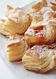 Salcici (puff pastry) _ Serbian Cuisine Gourmet Recipes, Baking Recipes, Cookie Recipes, Dessert Recipes, Kiflice Recipe, Eastern European Recipes, Kolaci I Torte, Croatian Recipes, Albanian Recipes