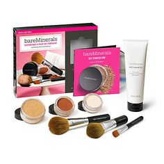 """Customizable Get Started Kit by Bare Escentuals. Loving my kit so far! Includes a get started manual, DVD on how to apply: """"swirl, tap, buff"""" technique, well-cared for brush shampoo, 3 brushes (concealer brush, full coverage face brush and another flawless face brush), warmth, spf 15 foundation either original or matte, and  mineral veil."""