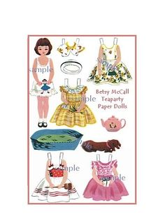 Vintage Betsy McCall Doll | Vintage Style Betsy McCall Paper Doll Sheet printed on quaility 110lb ...