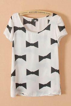 Bowknot Printing Short Sleeves Casual T-shirt