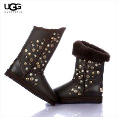 http://www.topsheepskinboots100.com/ugg-classic-short-boots/ugg-jimmy-choo-metal-decoration-boots-5838-in-chocolate.html