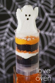 Halloween Push Pop Peeps - premade brownie bites make these a quick and easy no bake treat.