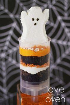 Halloween Peeps Brownie Push Up Pops
