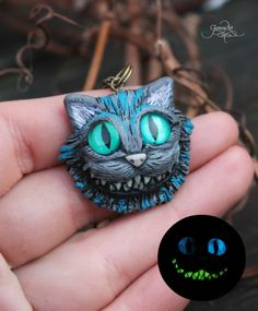 Cheshire cat necklace - Alice in Wonderland Cheshire pendant - OOAK cat figurine - polymer clay - magic forest animal - Cheshire kitty - fan birthday gift by GloriosaArt