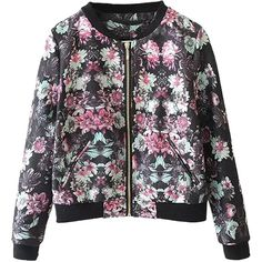 Choies Multicolor Floral Print Long Sleeve Bomber Jacket ($36) ❤ liked on Polyvore featuring outerwear, jackets, multi, multi color jacket, flower print jacket, flight jacket, black jacket and black floral jacket