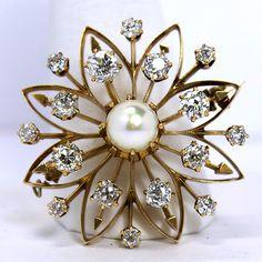 Edwardian 14K Diamond and Pearl Flower Brooch Pendant