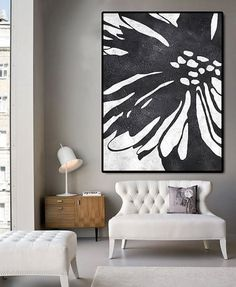 Huge Abstract Painting On Canvas, Vertical Canvas Painting, Extra Large Wall Art, Abstract Art Flower, Handmade. Black white.