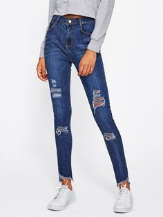 2f40684d7603a Blue Shiny Side Stone Rips Jeans