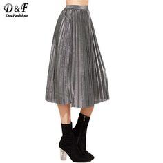 Pleated Skirt Vintage Women Skirt Fall Skirts Fashion New Arrivals Grey High Waist Pleated Skirt