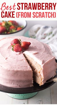 Strawberry Desserts Discover Homemade Strawberry Cake From Scratch (Video) - A Spicy Perspective Fresh Strawberry Cake From Scratch Recipe Best Strawberry Cake Recipe, Strawberry Cake From Scratch, Strawberry Layer Cakes, Cake Recipes From Scratch, Strawberry Jello, Strawberry Birthday Cake, 6 In Cake Recipe, Strawberry Buttercream Cake Recipe, Strawberry Lemonade Cake