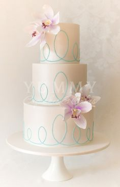 Pretty Turquoise Dotted Swirls Wedding Cake Picture