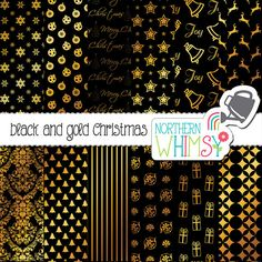 Black and Gold Christmas Digital Paper – gold foil Christmas scrapbook paper - Christmas backgrounds - printable paper - commercial use
