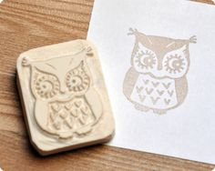 Tiny owl hand carved rubber stamp. $15.00, via Etsy.