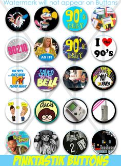 20 Totally Awesome Pin Back Buttons, Theme Party Buttons, I love the buttons, party decorations, Birthday Buttons 90s Theme Party Decorations, 80s Theme, 90th Birthday Parties, Birthday Ideas, Happy Birthday, Party Time, Totally Awesome, Party Ideas, Cupcake Toppers