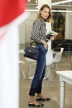 anine bing outfit striped shirt denim chanel bag