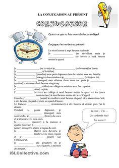 La Conjugaison fiche d'exercices - Fiches pédagogiques gratuites FLE