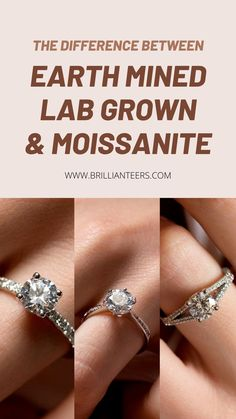 Can't decide on which one to go for? Learn the differences between Earth Mined diamonds and Lab Grown diamonds, and if Moissanites are just as beautiful. Designer Engagement Rings, Moissanite, Different, Ring Designs, Lab, Diamonds, Wedding Rings, Earth, Beautiful