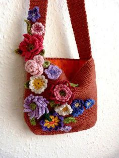 Flower crochet bag