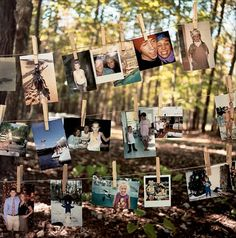 Picture Clothesline This would be good for a family reunion or graduation party..or whatever your having outside.