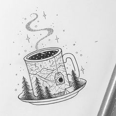 Galaxy inside the cup. - Tattoos and Ink - . - Galaxy inside the cup. … – Tattoos and Ink – the – galaxy insi - Art Sketches, Art Drawings, Drawing Art, Space Drawings, Aquarell Tattoos, Coffee Tattoos, Cup Of Coffee Tattoo, Tattoo Zeichnungen, Sketch Design