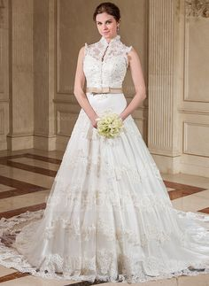 Wedding Dresses - $229.99 - A-Line/Princess High Neck Chapel Train Organza Satin Wedding Dress With Ruffle Lace Sash Beading Sequins Bow(s) (002011718) http://jjshouse.com/A-Line-Princess-High-Neck-Chapel-Train-Organza-Satin-Wedding-Dress-With-Ruffle-Lace-Sash-Beading-Sequins-Bow-S-002011718-g11718