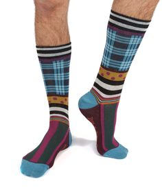 Men's check and stripe seriously silly cotton socks by Dub & Drino - Seriously Silly Socks