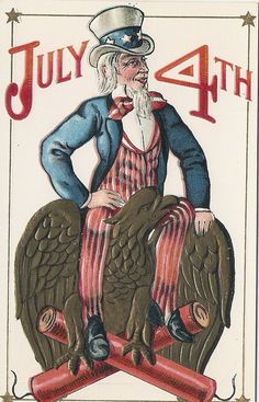 Uncle Sam - July 4th Postcard early 1900s