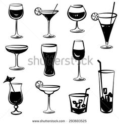 Glass vector silhouette collection. Set of different cocktail drinks isolated on white background. Cocktail party icons - stock vector