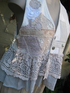 VINTAGE KITTY.. bonjour vest.. doilies, lace, french ticking, one of a kind.. blue, ecru, stripes..