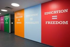 School Design Impacts Learning Achievement First Endeavor Middle School. Not sure it would work in a speech room, but I love this idea for a school! School Hallways, School Murals, I School, School Classroom, School Desks, Classroom Walls, School Signage, School Banners, Paula Scher
