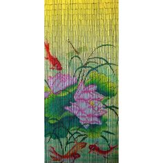 Carp is a 90 x beaded door curtain featuring an Asian-themed vignette of pink and white lotus flowers, flowing reeds, dragonfly and orange koi carp on a vibrant background of yellow and green. Curtain Divider, Room Divider Screen, Beaded Door Curtains, Bamboo Curtains, Welcome Door, New Age, Doors, Wall Art, Koi Carp