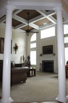 Dark Painted Coffered Ceiling Design, Pictures, Remodel, Decor and Ideas Ceiling Decor, Ceiling Design, Fireplace Molding, Moulding, Dining Room Paint, Transitional Living Rooms, Elegant Homes, Great Rooms, Living Room Decor