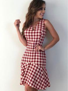 Vestido-Helena - All Hair Styles Best Prom Dresses, Dressy Dresses, Cute Dresses, Short Dresses, Western Dresses For Women, Check Dress, Business Outfits, Plaid Dress, Fashion Fabric