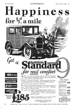 Standard Motor Car Autocar Advert 1928 Vintage Cars, Antique Cars, Big Horses, Car Illustration, Car Posters, Car Photos, Amazing Cars, Motor Car, British Car