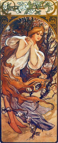 Alphonse Mucha (Czech, 1860 - 1939). The Seasons: Spring, 1897. Color Lithograph, 73 x 32 cm.