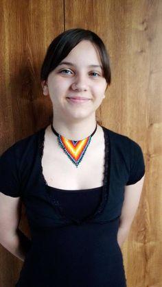 Collar collar de abalorios collar de flecos collar de | Etsy Beaded Choker Necklace, Fringe Necklace, Crochet Necklace, Beaded Collar, Native American Fashion, Seed Beads, Etsy, Chokers, Beautiful