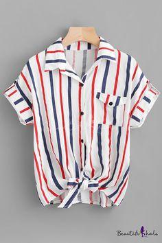 Usstore  Mens 2PCS Short Sets Lapel Muscle Shirt Button Blouses Summer Leisure Stripe Colorblock Short Sleeve Sports Shorts