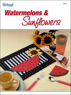 Watermelons & Sunflowers Plastic Canvas Pattern Download from e-PatternsCentral.com -- Here is an adorable place mat, coaster and napkin ring set that will add a touch of summer to your kitchen!