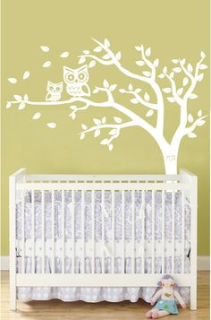 Personalized Tree and Owl Nursery Wall Decal for Baby in White. $69.00, via Etsy.