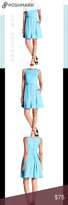 """🆕 Taylor Couture Beautiful Dress ! 💙 Taylor Couture !  Scuba Fit And Flare Dress ! Boatneck ! Back zip closure ! Banded waist ! Front bow detail ! Side slit pockets ! Approximately 37"""" in length ! Lining 100% polyester ! Dress 95% polyester 5% spandex ! Fits true to size ! Color """" Blue Atoll """" ! Gorgeous ! 💙 Taylor Dresses"""