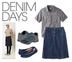 """Denim Skirts for Guys"" by brennk ❤ liked on Polyvore featuring Merrell, Tieks, Jean-Paul Gaultier, men's fashion, menswear, balletflats, denimskirts and tieks"
