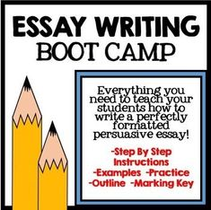 Essay Writing Boot Camp: Everything you need to teach your students how to write a perfectly formatted persuasive essay! Includes step by step instructions, examples, practice, outline, and marking key! Middle School Activities, Teaching Activities, Teaching Tools, Homeschooling Resources, Creative Teaching, Narrative Essay, Persuasive Writing, Essay Writing, Art Essay