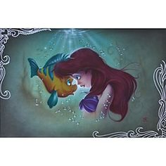 ''Ariel Flounder'' Giclée by Noah   Disney Store Ariel and her fishy friend Flounder see eye to eye on this artwork by the renowned artist Noah. The Little Mermaid ''Ariel Flounder'' Giclée is available in a range of limited edition formats. Make it part of your world.