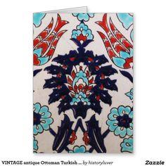 Vintage Antique Ottoman Turkish Tile Tulip Card